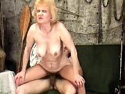 Horny grandma fucked by amateur guy in every poses