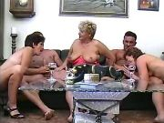 Grannies licked and fucked by guys in groupsex