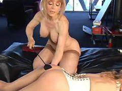 Lesbian milf spanks innocent babe