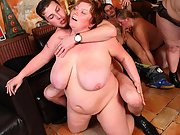 The BBW orgy in the bar features a hot fatty with jiggly tits sitting on a dick and bouncing