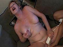 Cute lesbian dildos granny on sofa