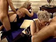 Lusty old prostitutes suck cocks and fuck in orgy