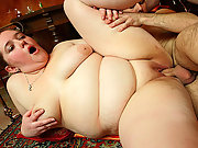 Horny fat chick with a huge belly sits on a dick and rides while her body jiggles lustily