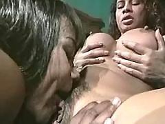 Wild and sweaty big tit lesbian sex
