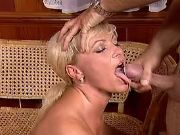 Blonde mature gets cumload in mouth after fuck