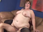 Chubby mature rides appetizing cock