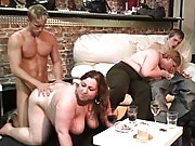 The orgy party has three fat sluts and three guys screwing on the white leather couches