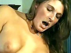 Horny lezzy rides strapon dildo