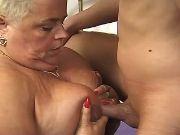 Horny fat granny titsfucked by guy