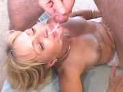 Blonde mature gets cumload on face after fuck