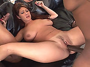 This filthy, slutty whore cheats on her husband with a dual-dicking