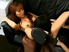 Interracial chicks lick asian pussy in wild orgy