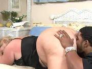 Black guy licks fat blonde slutty