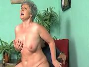 Lustful plump granny sucks and rides hard cock