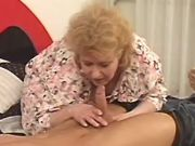 Nasty grandma seduces amateur guy and sucks cock