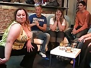 The drunken BBW party features hot fatties sucking dick and getting naked for their men