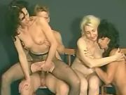 Amateur guy fucks maturies by turns in wild orgy