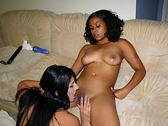 Black lesbian sista w big tits fuck white girl